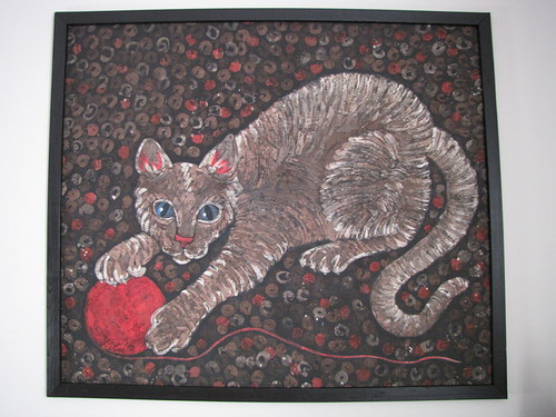 Kočka s klubíčkem-vosková batika na přání