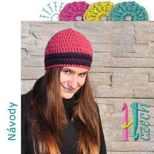 Háčkovaná čepice barevná pruhovaná