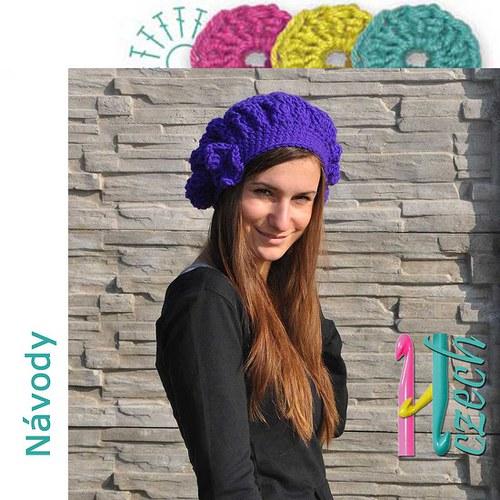 Háčkovaný baret zimní fialka