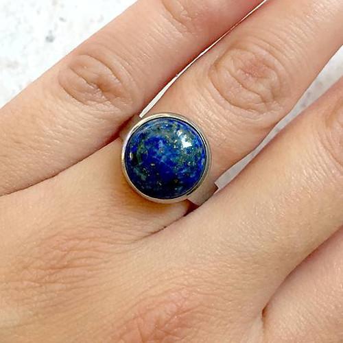 Elegantní prsten s lazuritem chirurgická ocel