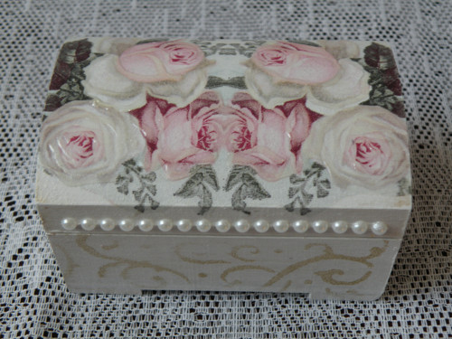 Svatební mini truhlička s vintage růží