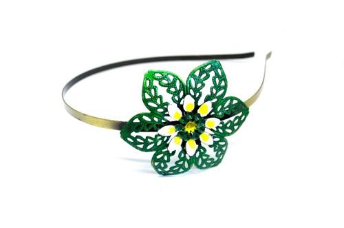 Kovová čelenka květina zelená