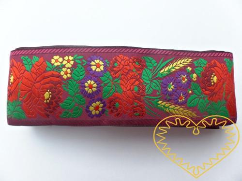 Fialová krojová stuha polyester - vzorovka š 7 cm