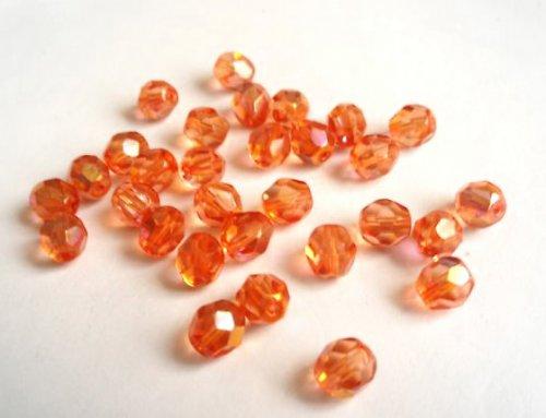 Broušené perle oranžové AB 7mm