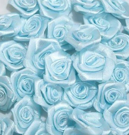 Saténová růžička 10 ks: Sv. modrá