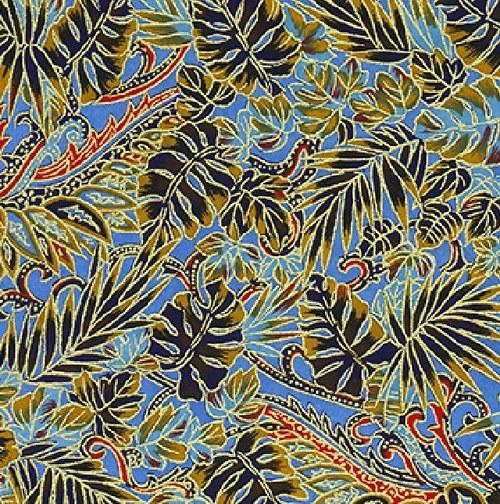 Handmade papír Divoké květy a lístky/modrá