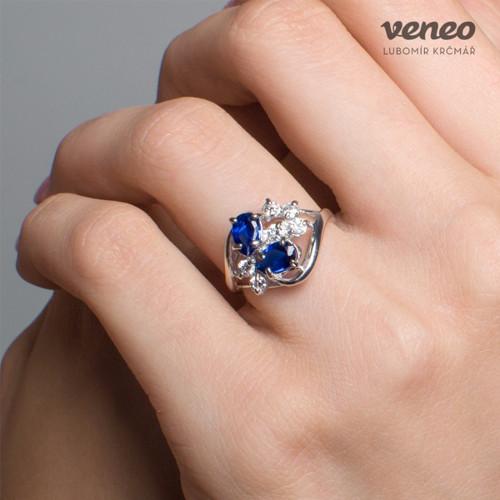 Carmen - prsten se safíry a čirými zirkony