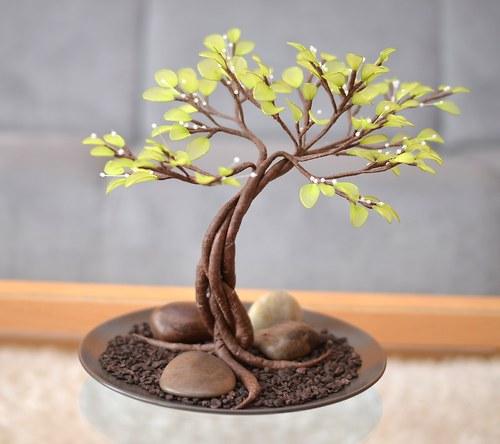 """Nylon flowers - \""""Jarní bonsaj\"""" - autorský výrobek"""