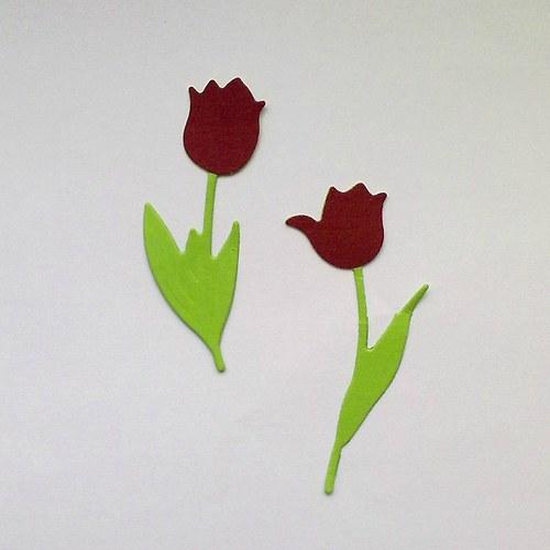 Výsek - tulipány tm.červené  2ks