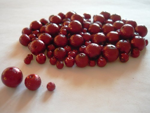 Perle skleněné  vroubkované bordó, 30g