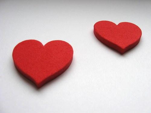 Výsek z pěnové gumy - srdce červené