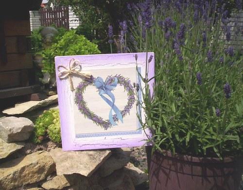 Levandulový obrázek 11 - srdíčko s pentličkou