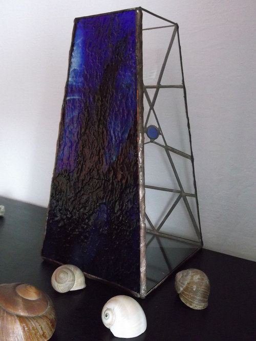 Vitrážová váza MODRÁ LAGUNA