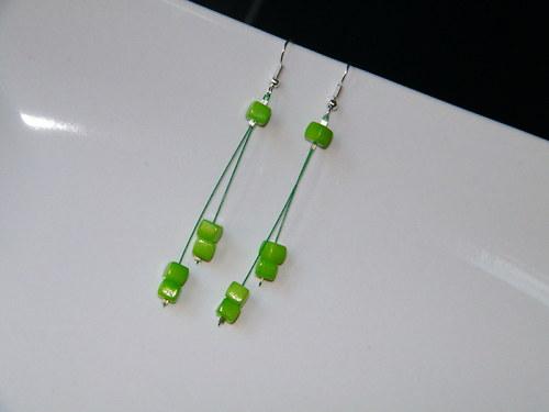 """Náušničky \""""kostičky neonové\"""" zelené"""