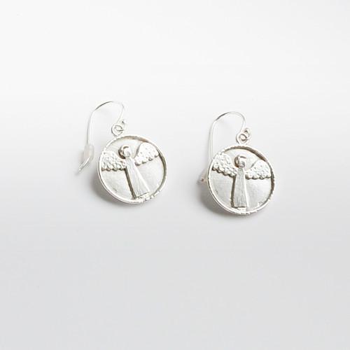 Náušnice - Medailonkové s andílky -KLASIK- Ag 925