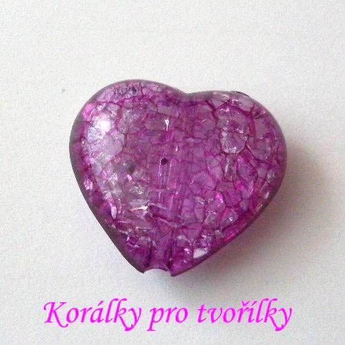 Akrylové srdce fialové 1ks/8,- Kč