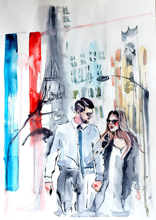 Serie Lide,Paris portret, Originalni Obraz A3