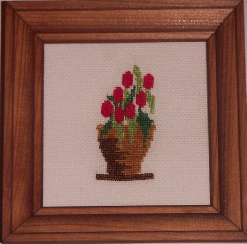 Vyšívaný obrázek - květináč s červenými kvítky