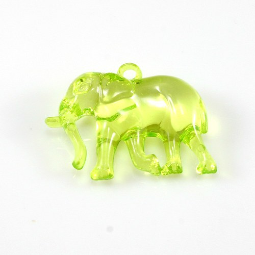 Žlutozelený slon - plastový přívěsek, 32x26 mm
