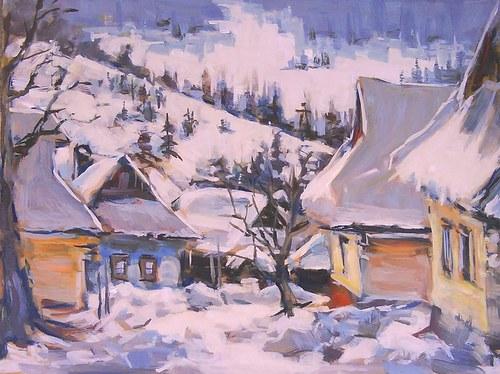 Dedina v zime - Vlkolínec- Slovensko