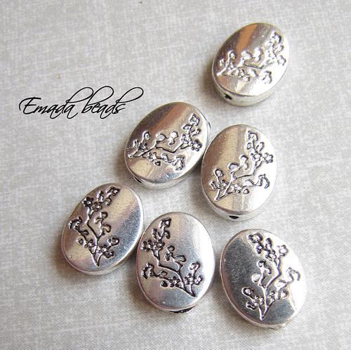 Korále, tibetské stříbro třešeň, 1,3 x 1 cm