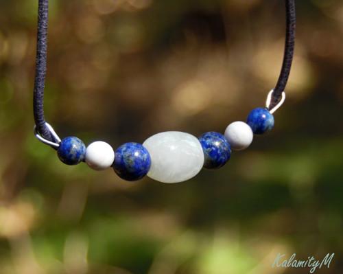 Maják - náhrdelník(jadeit,lapis lazuli,akvamarín)