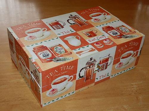Krabice na čaj - 8 komor - Tea Time oranžová