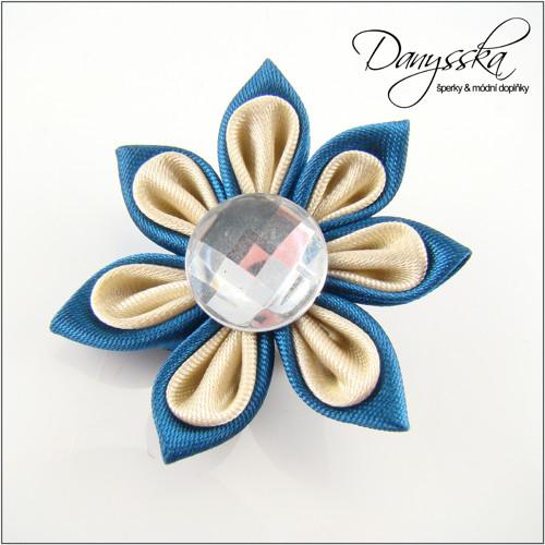 Saténová květina - brož 220