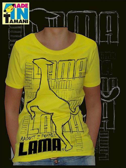 Dámské žluté tričko s Lamou velký potisk 2