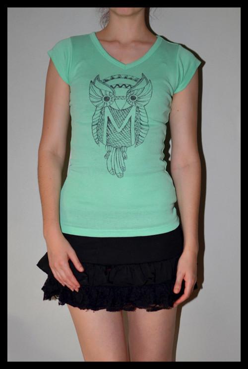 Ručně malované tričko se sovičkou :)