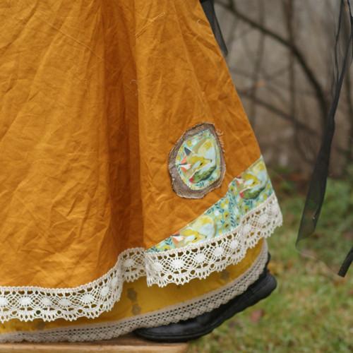 Medvědice ve zlatě ... lněná maxi sukně L/XL