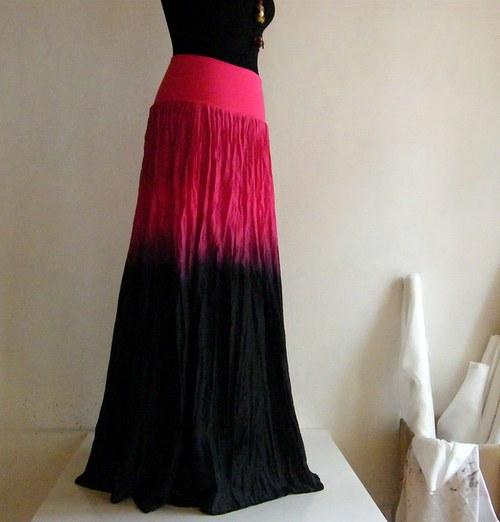 Magenta a černá...dlouhá hedvábná sukně