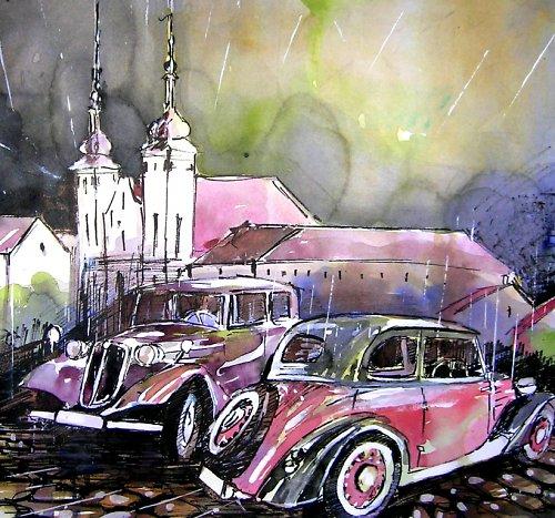 Akvarel, Olomouc Marie Sněžná  / Tatra 30