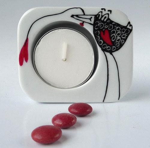 porcelánový svícen  - ptáček
