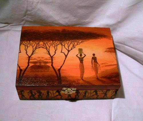 etno  krabička na čaj-6přihrádek
