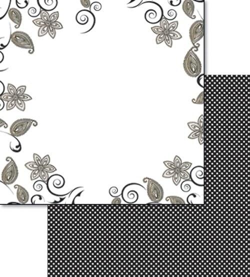 Oboustranný papír - Černobílé lístky a kytky