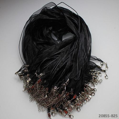 20855-B25 Organza šňůrka 10mm černá AKCE!!