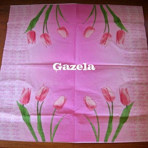 Ubrousek Tulipány v růžovém