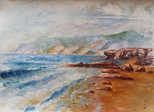 Praia do Guincho, reprodukce akvarelu