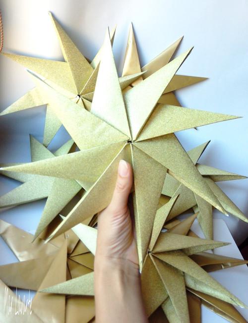 MAXI origami hvězdy zlaté 10 kusů