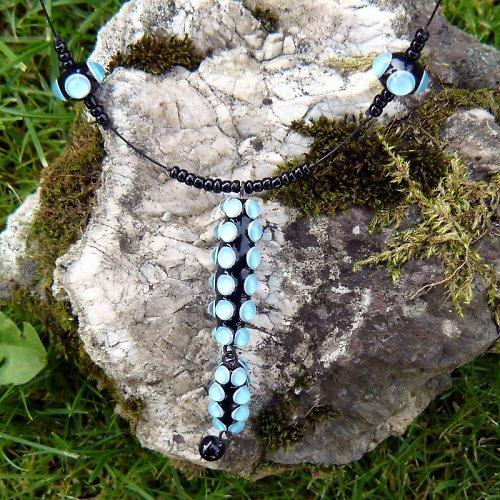 Náhrdelník okaté olivy - modré (tyrkys)