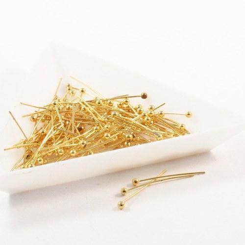 Ketlovací nýty s kuličkou 20 mm zlato 70 ks