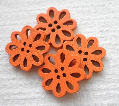 Oranžové knoflíky - 4ks