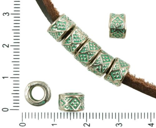 12ks Starožitné Stříbro Tón Tyrkysová Zelená Patin