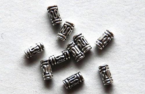 10ks kovové korálky 3x7mm