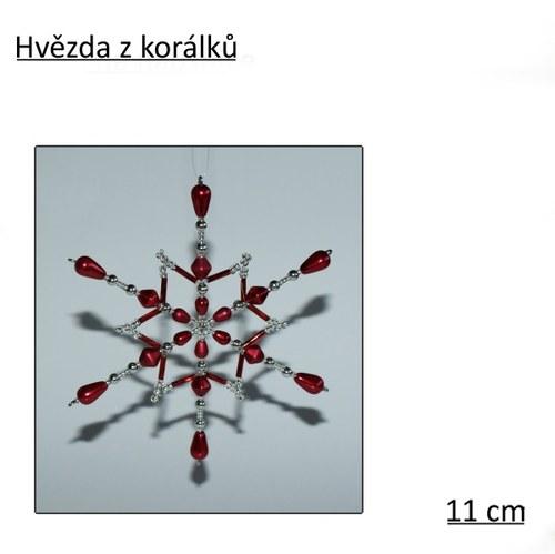 Hvězda z korálků - červená, 11 cm