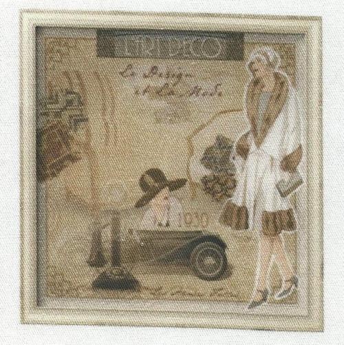 bavlněná látka - panel  12,5 x 13 cm
