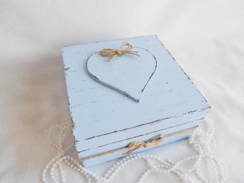 Svatební truhla se srdíčkem - modrá