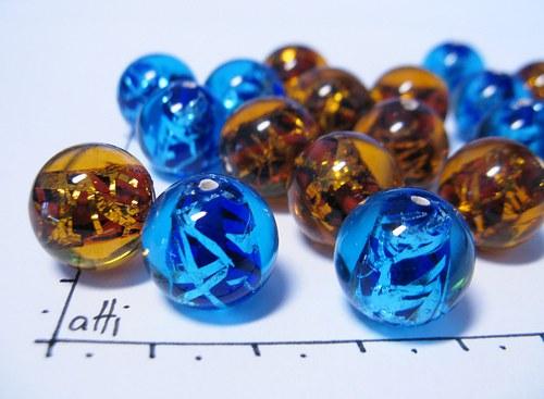 Vinutky - akvamarínové kuličky se stříbrem 14 mm