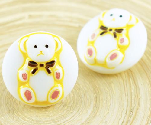 1ks Bílé Žluté Zlato Medvídek Zvířat Kolo Ručně vy